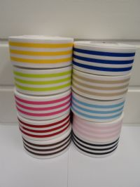 White with Light Pink Stripe grosgrain ribbon deck chair stripe double sided 15mm 38mm 2 or 20 metre roll